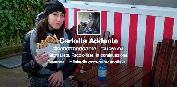 Carlotta Addante su Twitter