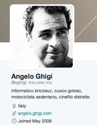 Angelo Ghigi su Twitter