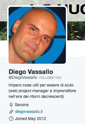 Diego Vassallo su Twitter