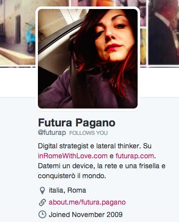 Futura Pagano su Twitter